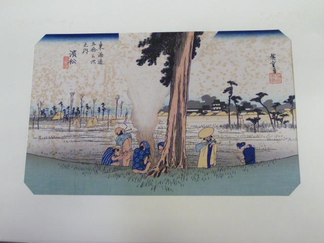 木版画 【東海道五拾三次  濱松 冬枯ノ図」】買取いたしますの画像