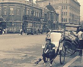 「満洲大連市内街並・人力車夫休息」等、満洲台湾南洋研修旅行写真アルバムの画像